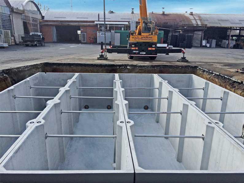 Vasche prefabbricate di grandi dimensioni in c a da 53000 litri - Vasca da bagno in cemento ...